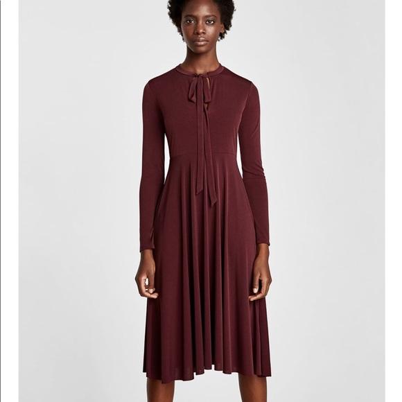 1bb62096a Zara Dresses | Dark Maroon Dress With Bow At The Neck Nwt | Poshmark